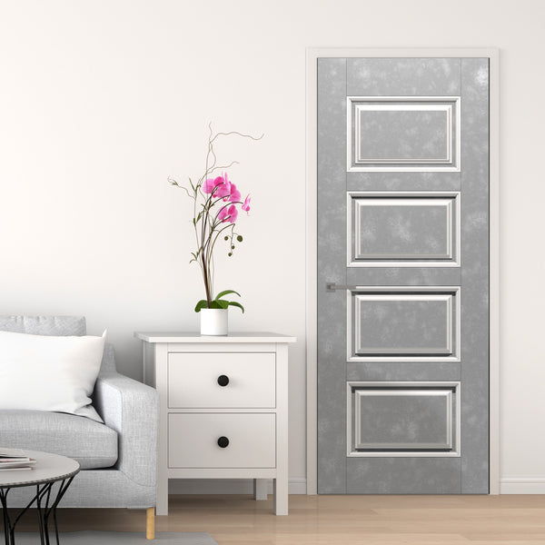 White Room With Grey door Wallpaper