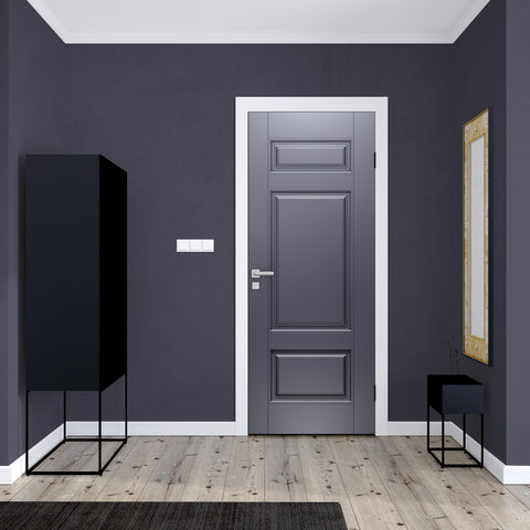 Front Door Silver Door wallpaper Design - grey door mural | DoorTouch