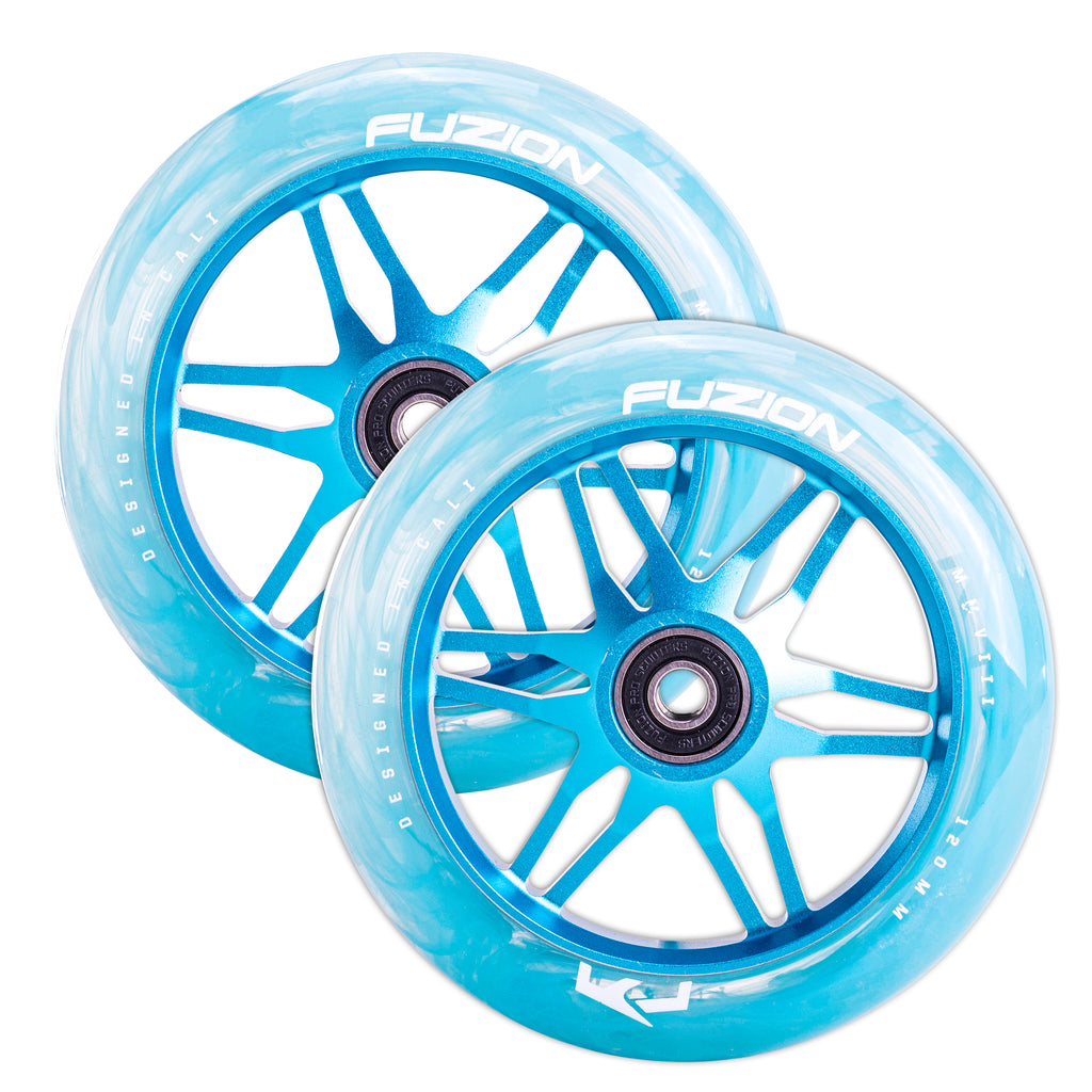 Fuzion 120mm Ace Vapor Wheels (Blue Swirl with Clear PU)