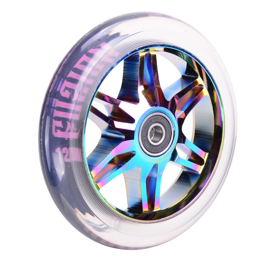 Fuzion 120mm Ace Wheels (Neochrome with Clear PU)