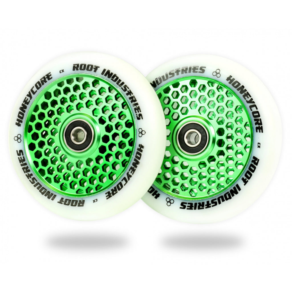 Root Industries 110mm HoneyCore Wheels (White/Green)