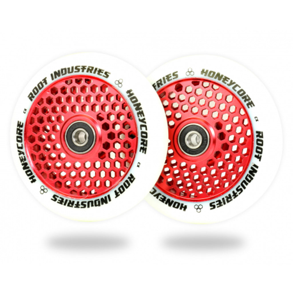 Root Industries 110mm HoneyCore Wheels (White/Red)