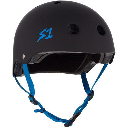S1 Lifer Certified Helmet (Matte Black/Cyan Blue Straps)