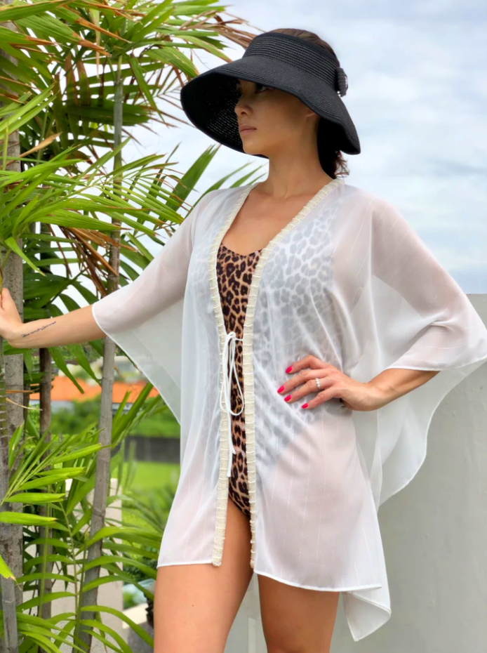 Ophelie kaftan in white lurex chiffon with hand sewn pearl beaded trim
