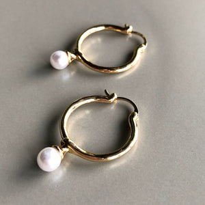 Mette Pearl Gold Hoop Earrings