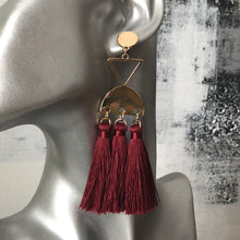 Load image into Gallery viewer, Kavala Tassel Earrings in Black