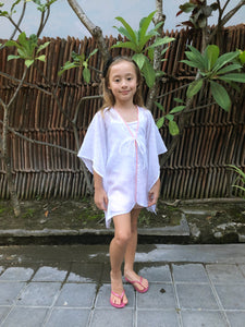 Adrianna Kaftan in White Eyelet with Coral Trim (Kids)
