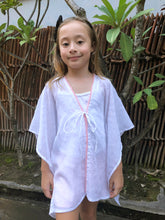 Load image into Gallery viewer, Adrianna Kaftan in White Eyelet with Coral Trim (Kids)