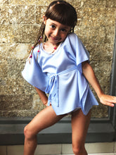 Load image into Gallery viewer, Saeta Belted Drawstring Kaftan in Periwinkle (Kids)