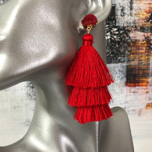 Load image into Gallery viewer, Lightweight 3-tier silk thread tassel earrings with druzy resin accents in grey, red, pink, blush, yellow, blue, and green