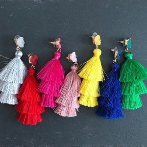 Lightweight 3-tier silk thread tassel earrings with druzy resin accents in grey, red, pink, blush, yellow, blue, and green