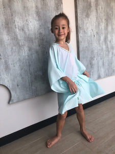 Saeta Belted Drawstring Kaftan in Mint (Kids)