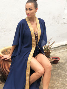Navy blue crepe chiffon long beach kaftan cover up with shiny gold saree trim