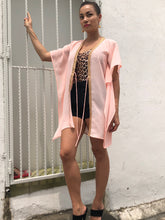 Load image into Gallery viewer, Theia Collection, pastel peach crepe chiffon short kaftan with rose gold trim