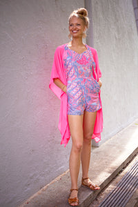 Batifolie Collection, neon pink chiffon long kaftan with pink and blue ocean coral batik trim