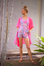 Load image into Gallery viewer, Batifolie Collection, neon pink chiffon long kaftan with pink and blue ocean coral batik trim