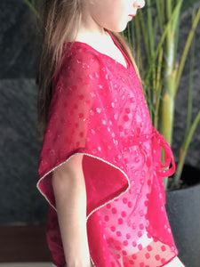 Fuchsia textured chiffon drawstring kids kaftan with rhinestone trimmed neckline and sleeves