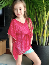 Load image into Gallery viewer, Fuchsia textured chiffon drawstring kids kaftan with rhinestone trimmed neckline and sleeves