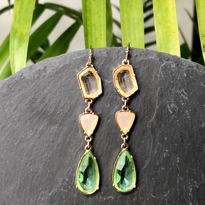 Anaiyah 3-tier glass crystal dangle earrings