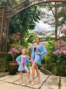 Batifolie Collection, powder blue chiffon short kaftan with pink and blue ocean coral batik trim, mommy and me kaftan set