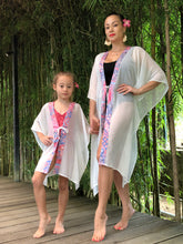 Load image into Gallery viewer, Batifolie Collection, white crepe chiffon long kaftan with pink and blue ocean coral batik trim, mommy and me kaftan set