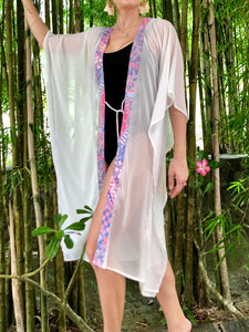 Batifolie Collection, white crepe chiffon long kaftan with pink and blue ocean coral batik trim, mommy and me kaftan set