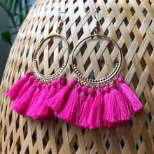 Load image into Gallery viewer, Besi Gold Hoop Tassel Earrings in Purple