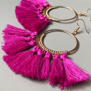 Besi Gold Hoop Tassel Earrings in Purple