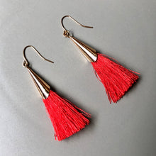 Load image into Gallery viewer, Mula Tassel Earrings in Red