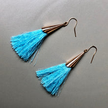 Load image into Gallery viewer, Mula Tassel Earrings in Aqua