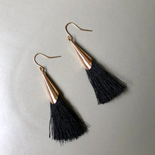 Load image into Gallery viewer, Mula Tassel Earrings in Black