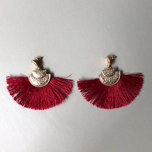 Lightweight wine silk thread tassel earrings with textured gold accents