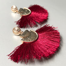 Load image into Gallery viewer, Lightweight wine silk thread tassel earrings with textured gold accents
