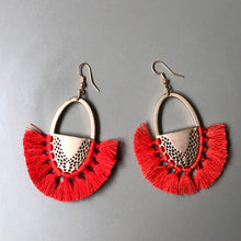 Load image into Gallery viewer, Torvi Crescent Tassel Earrings