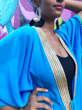 Load image into Gallery viewer, Ocean blue chiffon beach kaftan cover up with shiny gold saree trim