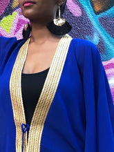 Load image into Gallery viewer, Royal blue chiffon beach kaftan cover up with shiny gold saree trim