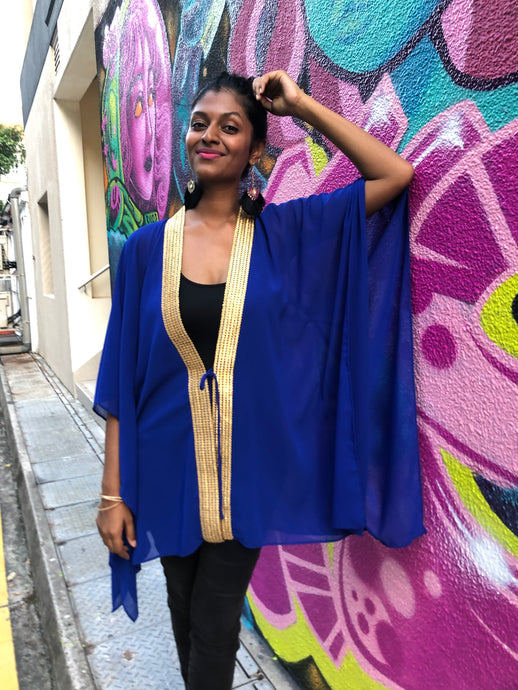 Royal blue chiffon beach kaftan cover up with shiny gold saree trim