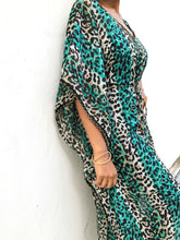 Load image into Gallery viewer, Green leopard chiffon long belted drawstring beach kaftan cover up dress with gold trimmed neckline and sleeves
