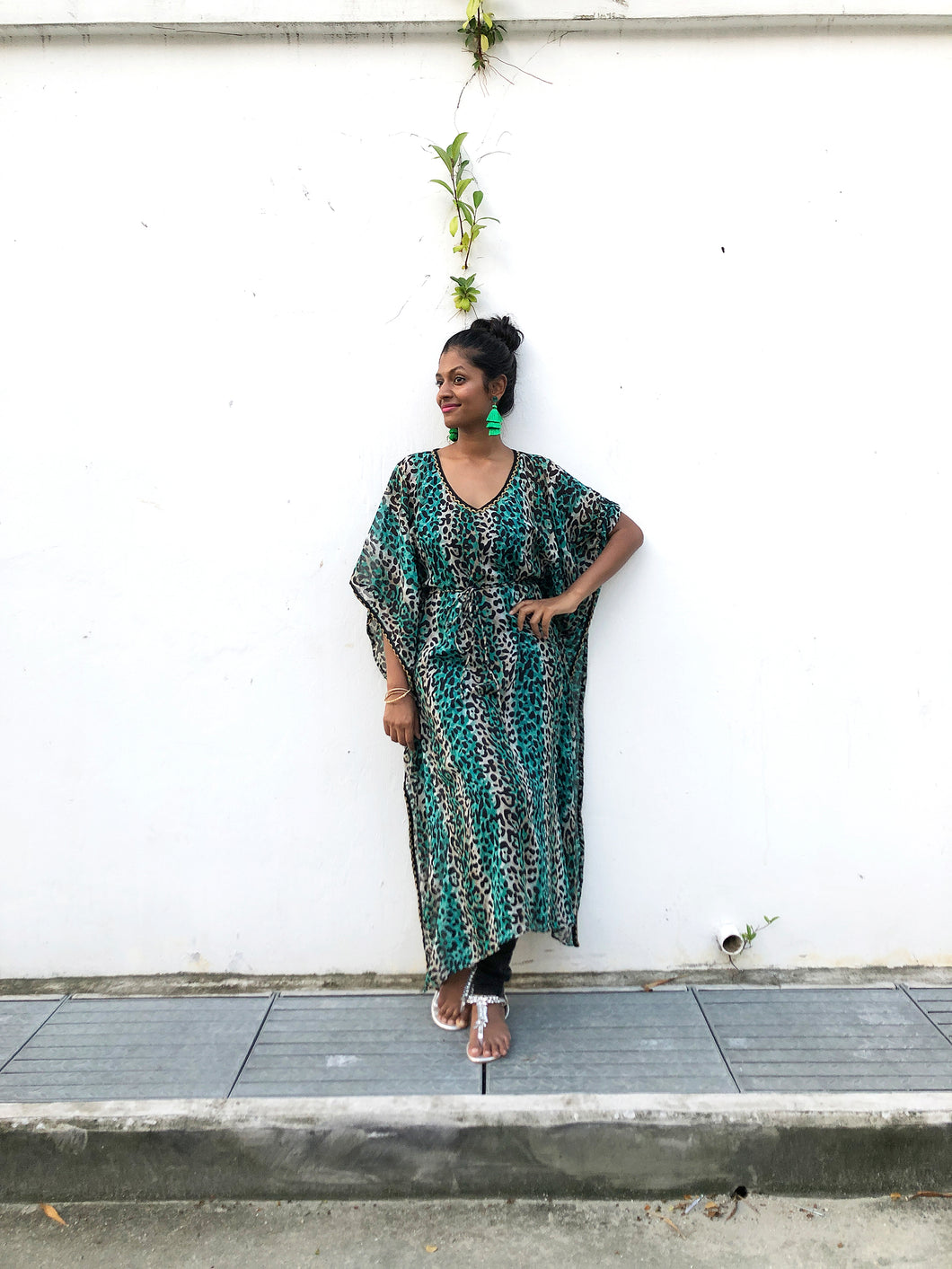 Green leopard chiffon long belted drawstring beach kaftan cover up dress with gold trimmed neckline and sleeves
