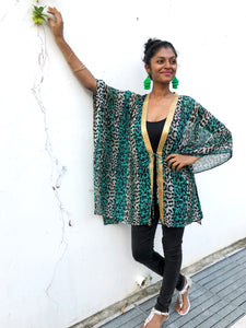 Green leopard chiffon beach kaftan cover up with shiny gold saree trim