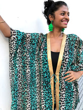 Load image into Gallery viewer, Green leopard chiffon beach kaftan cover up with shiny gold saree trim