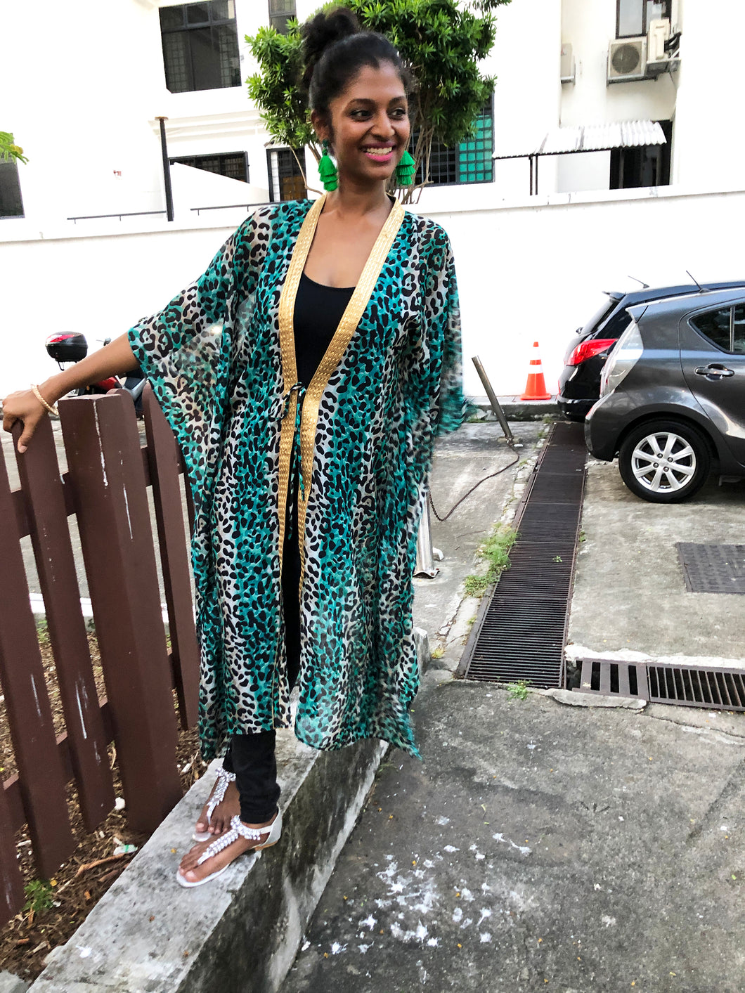 Green leopard long chiffon beach kaftan cover up with shiny gold saree trim