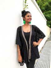Load image into Gallery viewer, Black lace beach kaftan cover up with hand sewn silver metallic beaded trim