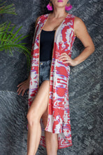 Load image into Gallery viewer, Paza Sleeveless Kimono in Abstract (Long)