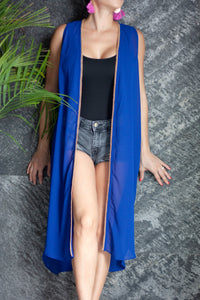 Paza Sleeveless Kimono in Royal Blue