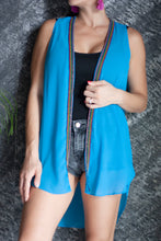 Load image into Gallery viewer, Azure blue crepe chiffon sleeveless kimono vest with hand sewn rainbow beaded trim