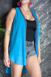 Azure blue crepe chiffon sleeveless kimono vest with hand sewn rainbow beaded trim