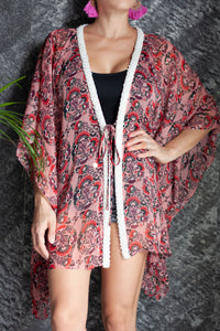 Spanish-inspired floral crepe chiffon beach kaftan cover up with hand sewn pearl trim