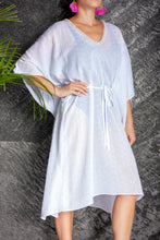 Load image into Gallery viewer, White eyelet crepe chiffon beach belted drawstring kaftan cover up with pearl trim neckline