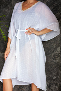 White eyelet crepe chiffon beach belted drawstring kaftan cover up with pearl trim neckline